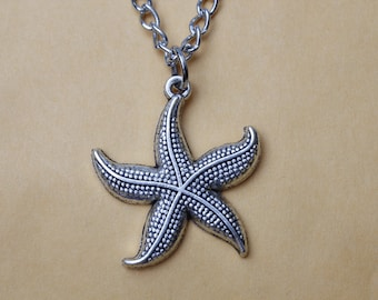 Silver Starfish Necklace - Whimsical Star Pendant - Starfish Jewelry - Nature Inspired