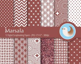Marsala Digital Paper Set - Pantone Color of the Year Digital Paper - 2015 Color of the Year Paper - Set of 12 Digital Scrapbooking Papers