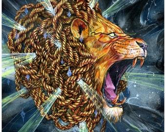 "Lion Art Tapestry - Large Format Art Tapestry - ""Rold Old Gold"" by Black Ink Art"