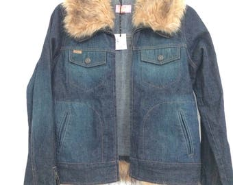 81921d1702 ... ShellysRelics on Etsy  meet 628fc 1ad81 Hooch 1970s style denim jacket  with faux fur collar and cuffs  best service d1d4c 9ad09 Vintage Schott  bomber ...
