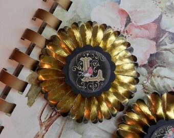 vintage gold foil  paper rosettes- Choose your letters