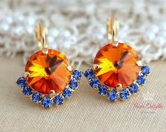 Orange  Blue Sapphire drop earrings,Swarovski Drop earrings,Antique style swarovski Crystal earrings,Bridesmaids jewelry,gift for woman