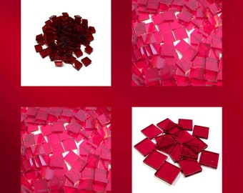 Cherry Red Cathedral Squares Stained Glass Mosaic Tiles Hand Cut Transparent