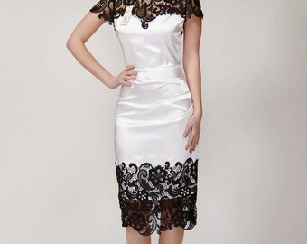 Black White Lace Sheath Dress