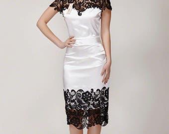 Black White Lace Sheath Dress