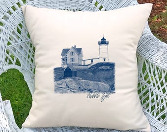 Customized Nubble Lighthouse Pillow