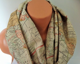 World map scarf infinity scarf soft Cotton loop scar infinite scarf