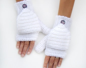 White Mittens, Convertible Fingerless Mittens, White Gloves, Fingerless Gloves, Convertible Gloves, Crochet Mittens, Women's Gloves