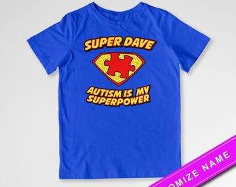 Autism Awareness Shirt Super Robert Custom Name T Shirt Autism Is My Superpower Puzzle Piece Autistic Children Shirt Kids Youth Tee DN-421A
