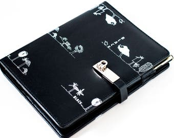 Pure A5 Black With White Birds Notebook