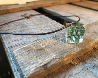Necklace resin cubes with real fern
