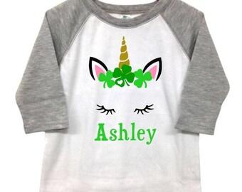Infant/Toddler Unicorn St. Patrick's Day Girl Name Personalized Shirt Raglan 3/4 Sleeve