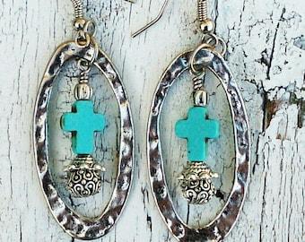 Cross Hoop Earrings, CROSS EARRINGS, Turquoise EaRring, Hammered EaRRings, Religious Jewelry