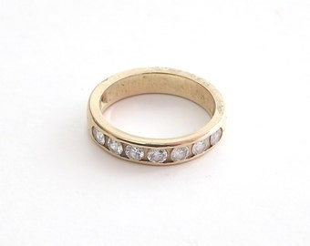 Diamond Ring Anniversary Band in Solid Gold With Seven Diamonds