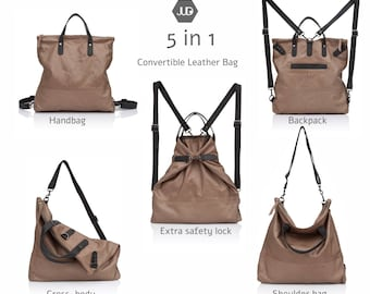 Walnut brown Convertible leather backpack tote Laptop leather backpack Women leather bag Leather rucksack purse Convertible rucksack tote