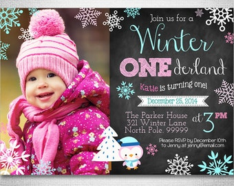 Winter Onederland Invitation - Winter Wonderland - Digital File - Printable - Pink and Teal - Snowflake - Girl's First Birthday Invitation
