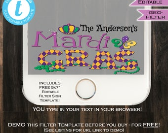 Mardis Gras Snapchat Geofilter Life of the Mardi Party New Orleans Bachelorette Filter nola Pride Personalize Custom INSTANT Self EDITABLE