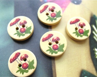 Zakka Round Wooden Red Mushroom Button Sewing Sew On Buttons Set - 5's