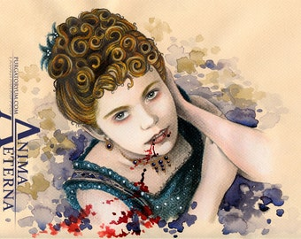 """Ma belle Claudia - Interview with the Vampire Traditional Art  Watercolor Painting - Photo Print 15x20cm (5.9""""x7.8"""") - Hand Signed"""