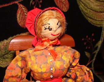 Nuthead Doll by Aunt Boo, Folk Art Doll in Rocker, Carved Hands, Babies in Basket, The Pioneers Series