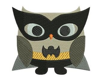 Owl Superhero Batman Halloween Machine Embroidery Design 4x4 and 5x7 Instant Download