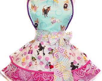 Sweet Chihuahua & Candy Retro Pinup  Apron/Retro Apron/Woman's Apron/Rockabilly/Party Apron/Hostess Apron/Gift Apron