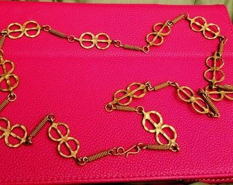 long chain necklace copper with Greek motif