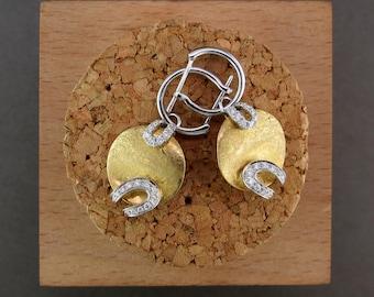 18 Karat Yellow Gold and Diamond Dangle Earrings