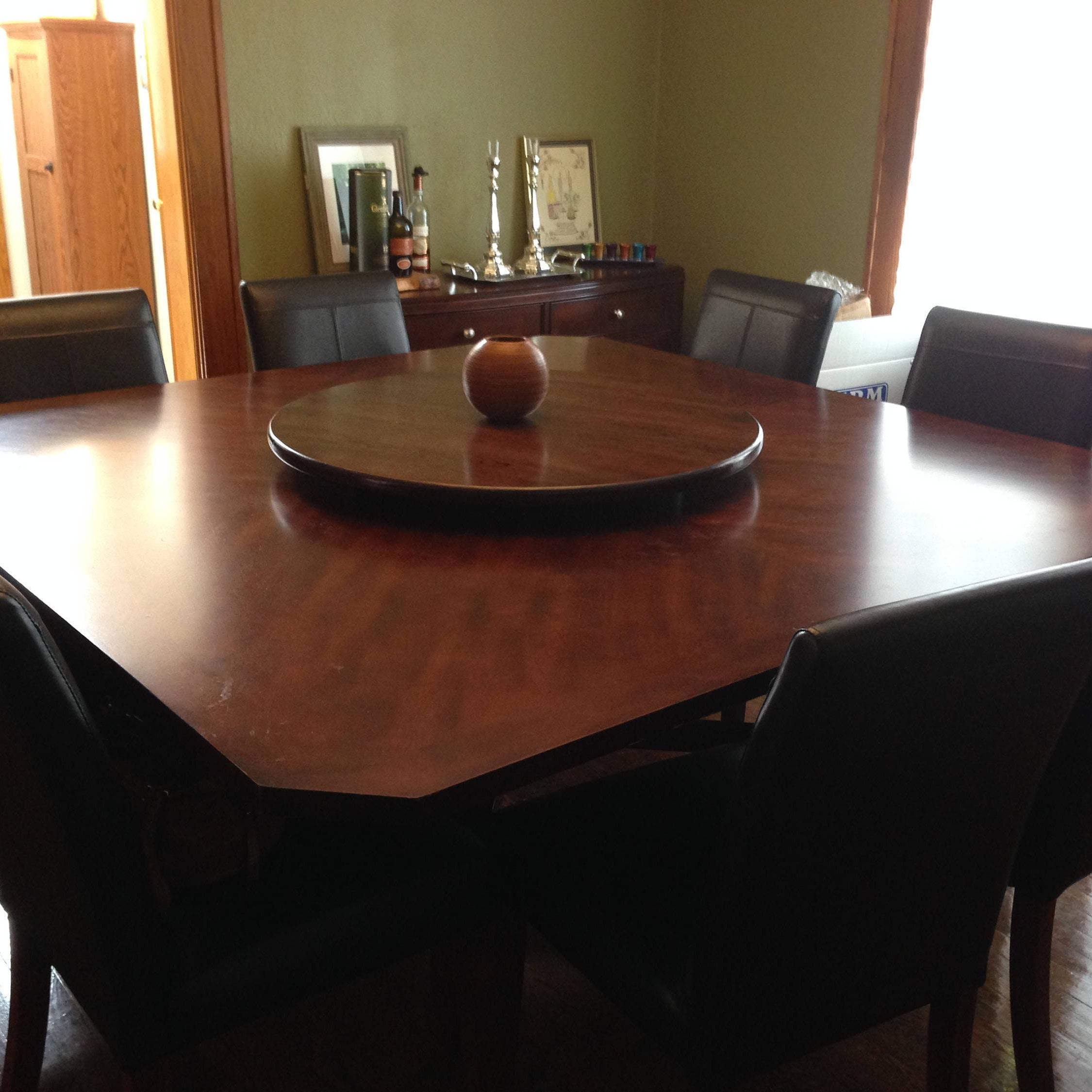 Dark wood lazy susan table centerpiece