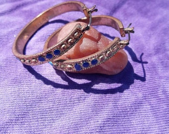 Blue and Gold Gypsy Hoops.