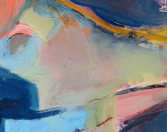 Abstract art print Original OOAK giclee  Dark Blue Light Blue Pink Green Yellow Orange Salmon Peach Geometric  a la Diebenkorn
