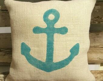 """Beach Blue Anchor Burlap Stuffed Pillow Nautical Summer Pillow 12"""" x 12"""" Beach House Pillow"""