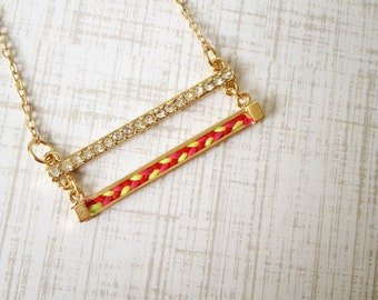 Double Bar Thread Necklace (Hot Pink, Red, Neon Light Green) / cute necklace / birthday gift / gift for her / for her / layer necklace