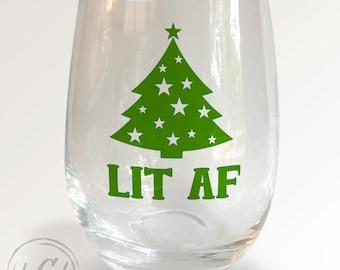 LIT AF Stemless Wineglass