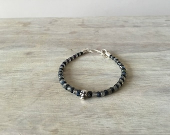 Men's Sapphire and Labradorite Bracelet with a Tiny Silver Skull