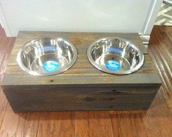 Rustic Wood Large Dog Bowl Feeder