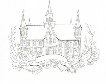 Provo City Center Temple Coloring Page DIY Painting Adult Craft Idea Young