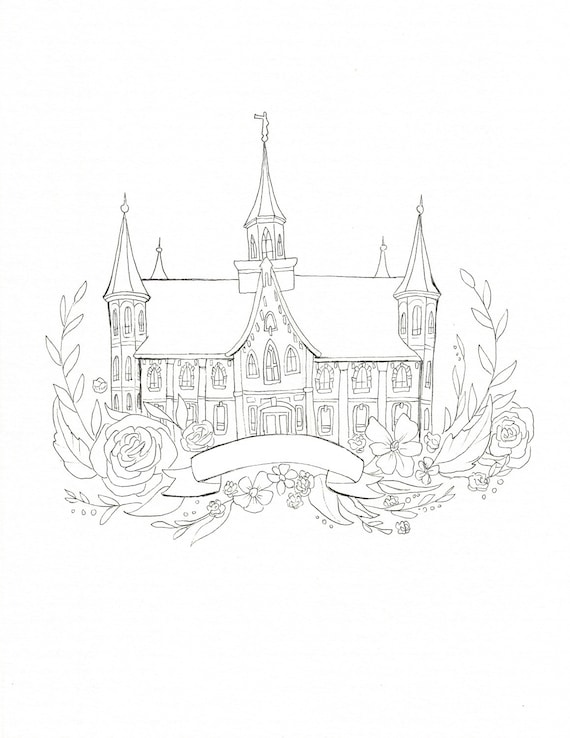 Provo City Center Temple Coloring page DIY painting Adult