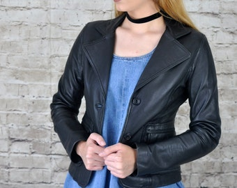 1980s Vintage Black Leather Blazer / Biker Jacket