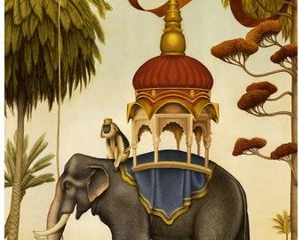 Elephant art print - Limited Edition Print - Watercolor painting, elephant print, monkey print