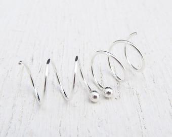 Triple Hoop Earrings / Argentium Sterling Silver Hoops / Earrings for 3 Piercings / Silver Ball Hoops / Multi-Piercing / Eco-Friendly 101508