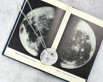 Moon Necklace | Watercolour Moon | Galaxy Jewellery