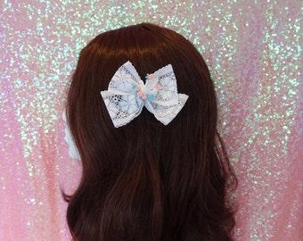 Kawaii Lolita Larme Kei Double White Lace Blue Peach Dove Bow
