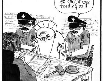 God Arrested for Feeding the Poor CARTOON