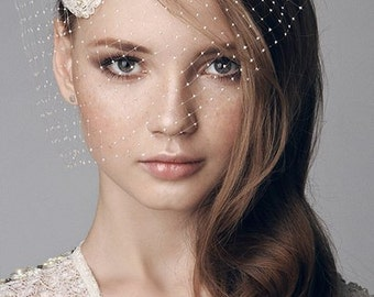 Fashionable bridal beaded lace headpiece, fascinator for a bride, cap style, Grace Kelly style headpiece, Juliette cap, vintage inspired