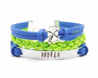 Personalized Shamrock Bracelet | Childrens Jewelry | Custom Name Bracelet | Four Leaf Clover Charm Bracelet | Good Luck | Teen Girl Gift