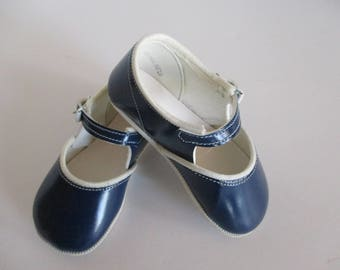 Vintage Baby Toddler Girl's Dress Shoes, Never Worn Vintage Blue and White Mary Jane's Baby Toddler Shoes, Vintage Mary Jane's Dress Shoes