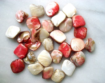 Vintage Rose Chip Shell Beads - 15 Large Pink Shell Beads - Cream Shell Chips - 5 Dollar Deal