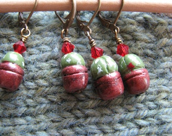 Stitch markers for crochet | knitting | locking markers | miniature | cactus plant | handmade |  gifts for crafters