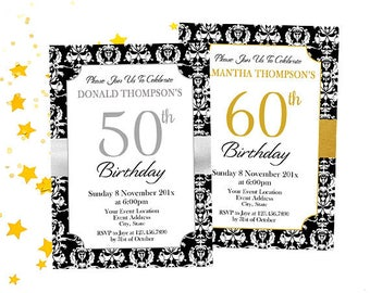 Formal Party Invitations, Custom Birthday Party Invites, Special Occasion Invitations, Silver or Gold, Your Event and Wording, Digital